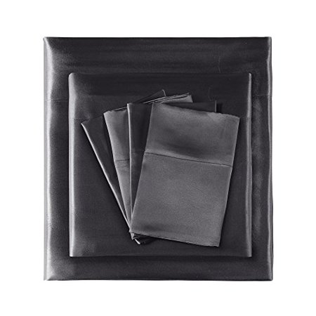 Madison Park Essentials Satin 6Piece Sheet Set Cal King Black,Cal King - image 4 of 5
