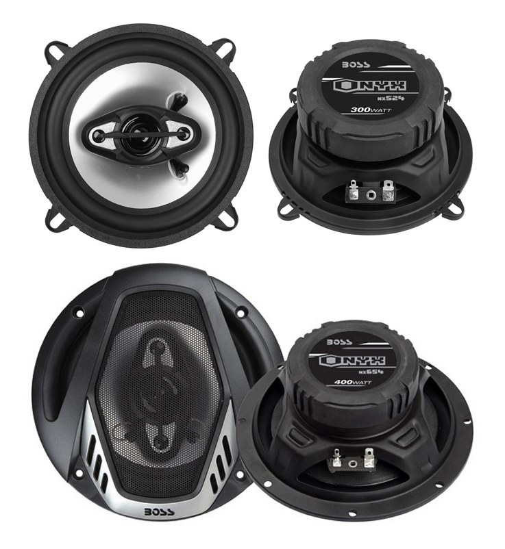"2) Boss NX524 5.25"" 300W + 2) NX654 6.5"" 400W 4-Way Car Audio Coaxial Speakers"