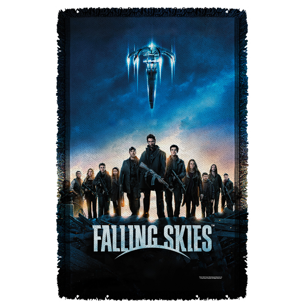 Falling Skies Poster Woven Throw White 48X80