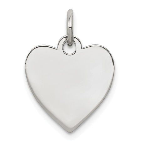 - Solid 925 Sterling Silver Engraveable Heart Polished Front/Satin Back Disc Pendant Charm (14mm x 18mm)