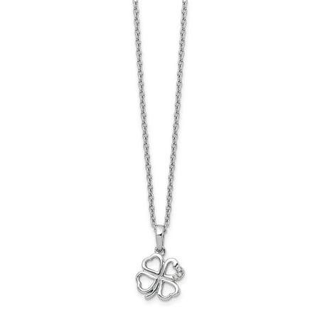 Mia Diamonds Solid Sterling Silver White Ice Diamond Clover Necklace (Ice Diamond Necklace)