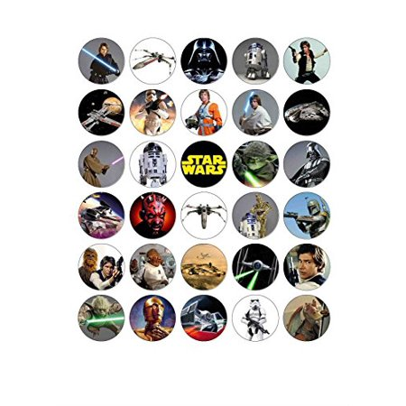 30 X Star Wars Edible Wafer Paper Cupcake Cake Toppers Birthday Party Image
