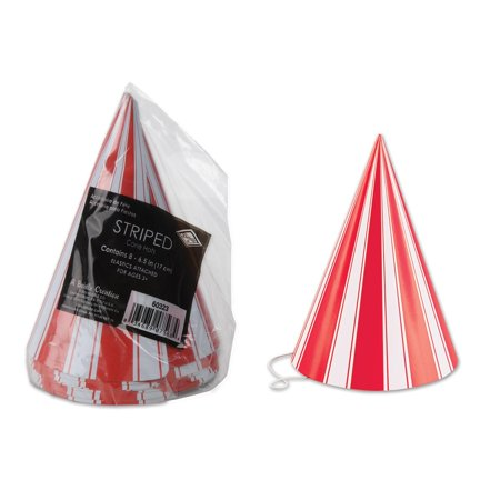 """Club Pack of 96 Red and White Striped Circus Birthday Theme Cone Party Hats 6"""" (Circus Theme)"""