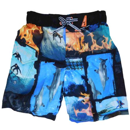 c959b5d3ba Boys Black & Blue Surfing Shark Flame Panels Swim Trunks Board Shorts -  Walmart.com