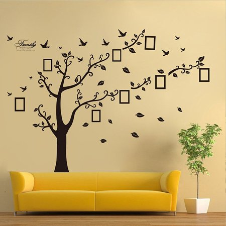 DecalGalore Large Family Memory Tree Wall Decal, History Decor Mural for Home, Bedroom, Living Room, Stencil Decoration, DIY Photo Gallery Frame Decor Sticker, Removable Wall Decal ()