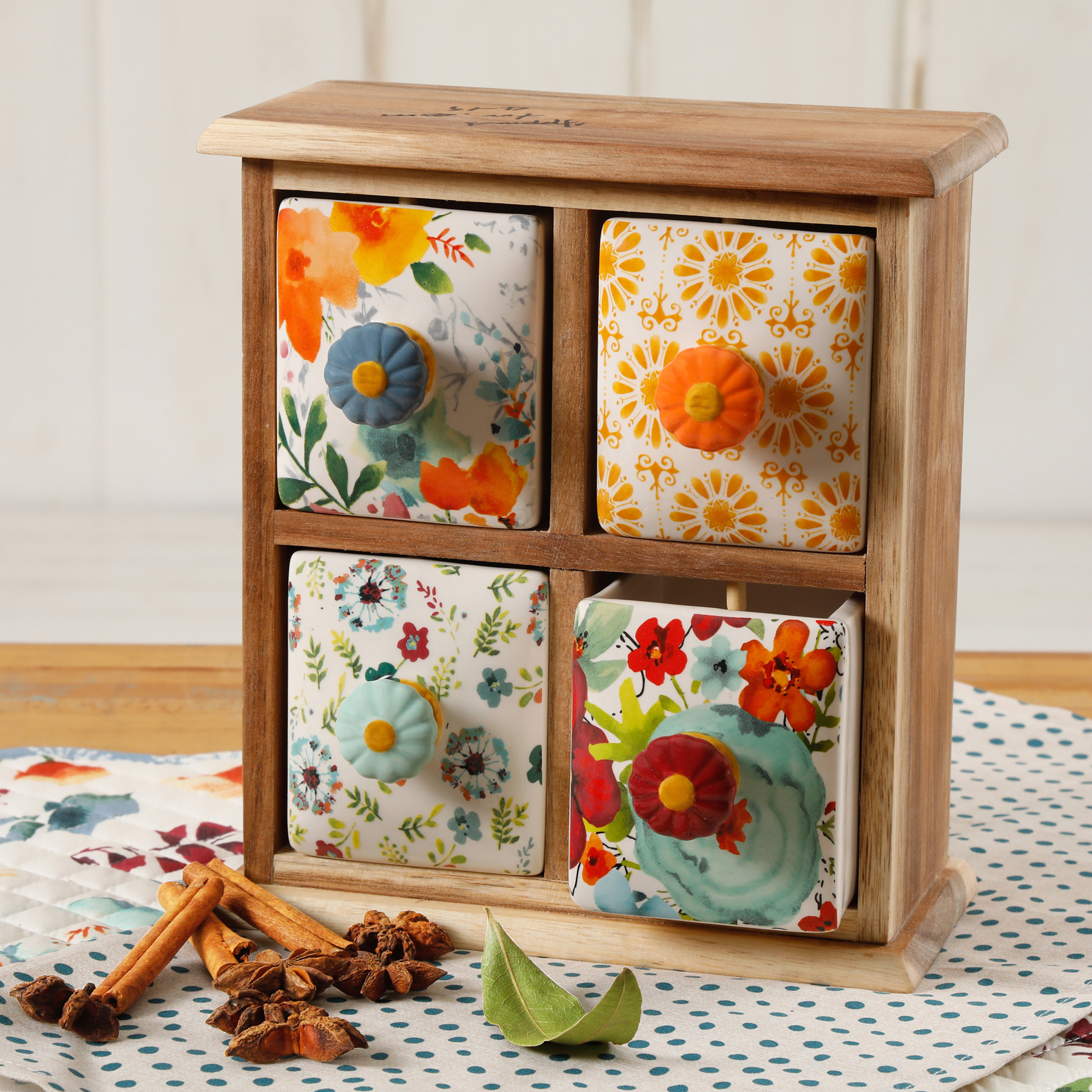 The Pioneer Woman Flea Market 4 Drawer Distress Spice Box