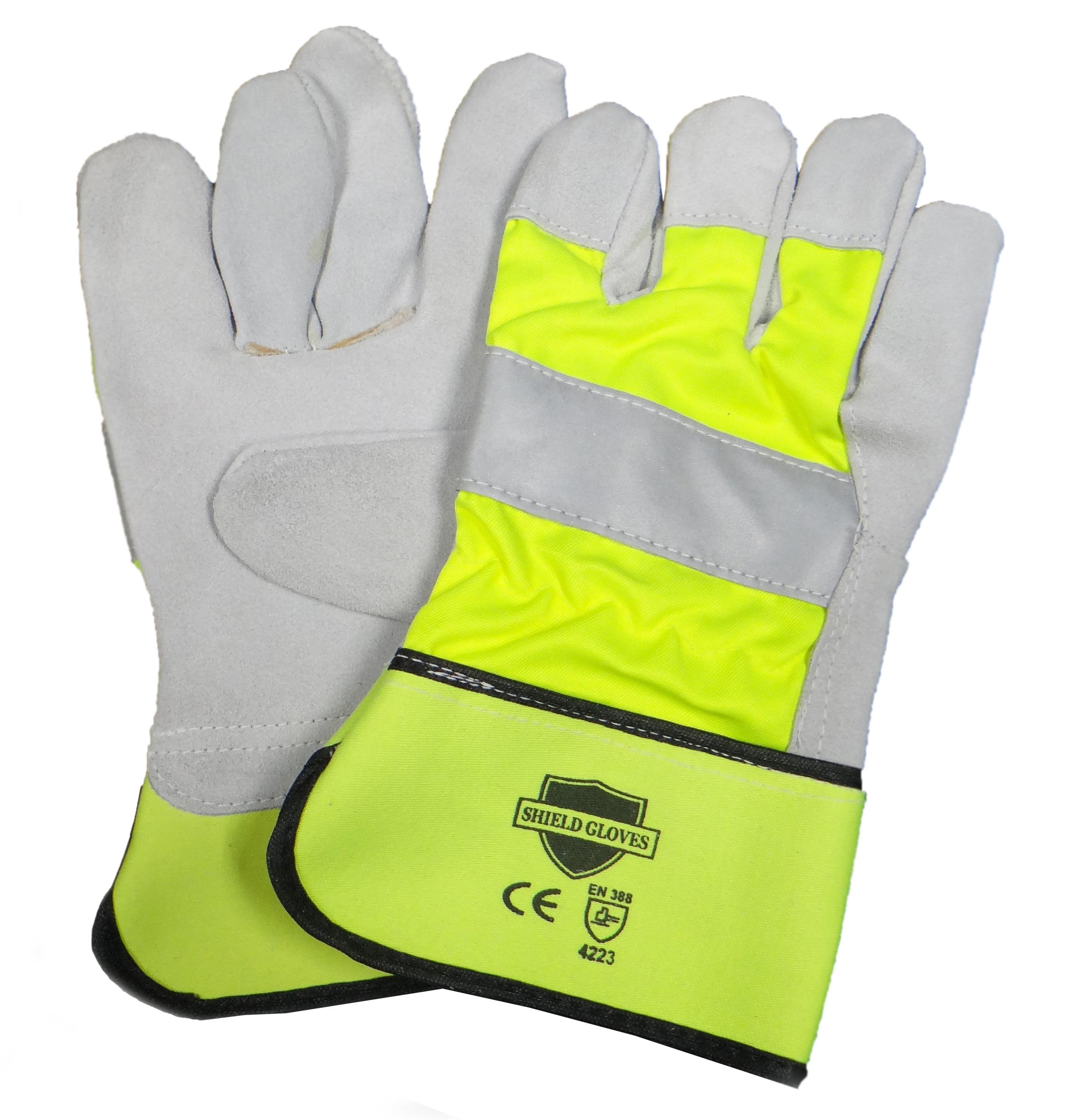 Leather Work Industrial Gloves Hi-Vis Heavy Duty Non ...  Pair