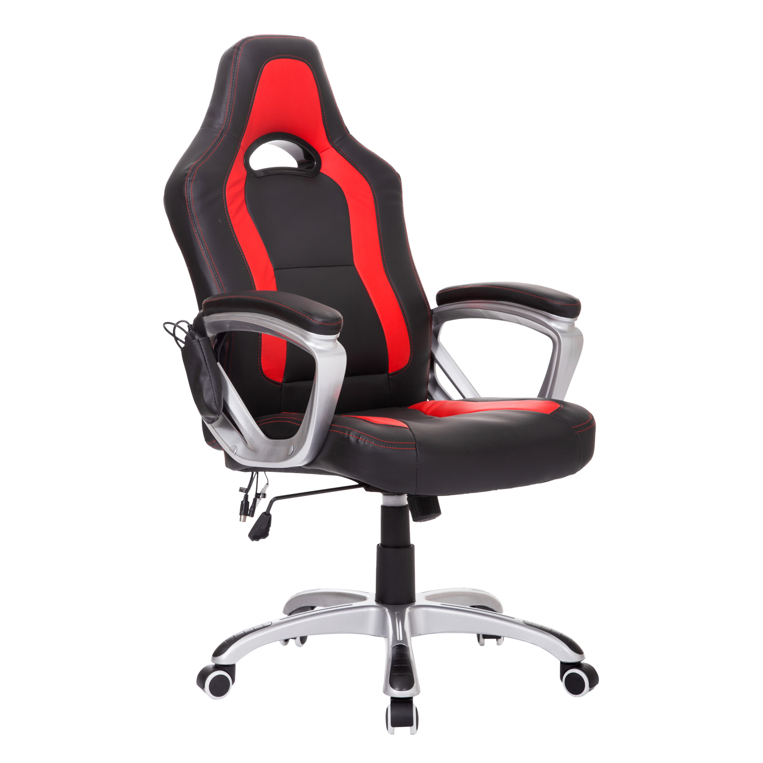 HomCom Race Car Style PU Leather Heated Massaging Office Chair   Black And  Red