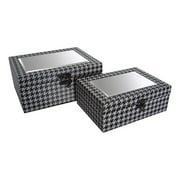 Cheungs 2 Piece Houndstooth Design Mirror Treasure Box Set
