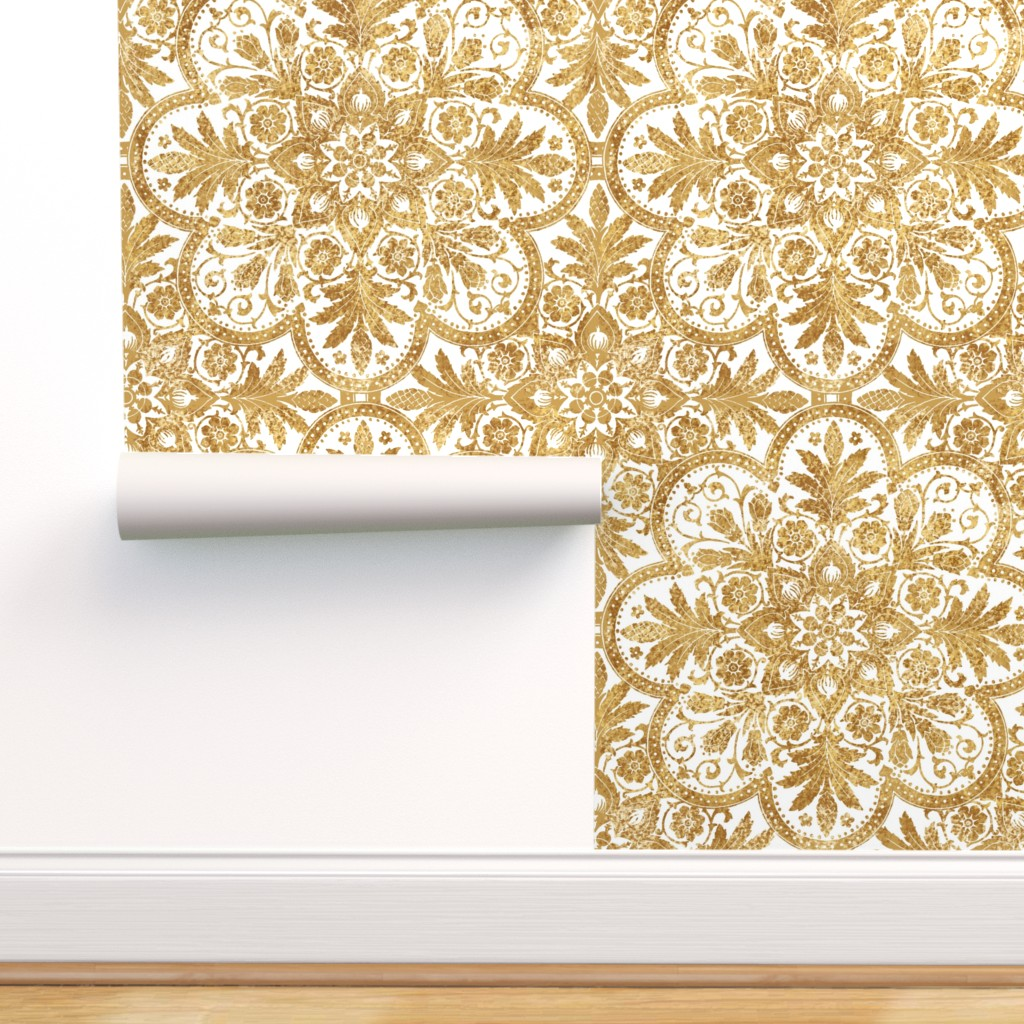 Peel And Stick Removable Wallpaper Gilt Floral Gold White Antique