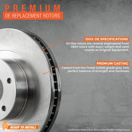Max Brakes Front Premium Brake Kit [ OE Series Rotors + Ceramic Pads ] KT007641 | Fits: 2006 06 2007 07 2008 08 Honda Civic Hybrid Models - image 1 de 8