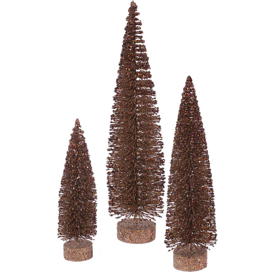 "Vickerman 12""/16""/20"" Mocha Glitter Oval Artificial Christmas Tree, Unlit"