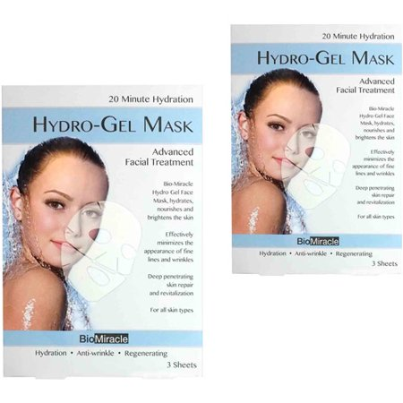 BioMiracle Hydro-Gel Face Mask, 3 count, (Pack of 2)
