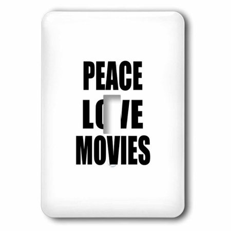 3dRose Peace Love and Movies - Things that make me happy - movie buff gift, Single Toggle Switch