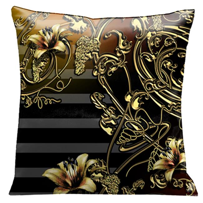 Lama Kasso 118S Old Gold Iron Lace Work and Flowers on a Wonderful Black and Soft Gray Striped Background 18 in. x18 in. Micro-suede Pillow