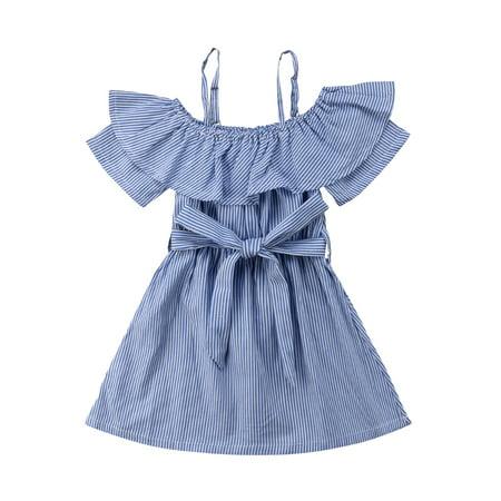 eab5740e7d04 Summer Baby Kids Girls Off-shoulder Dress Toddler Princess Party Tutu Dress  Striped Casual Dress Sundress Clothes