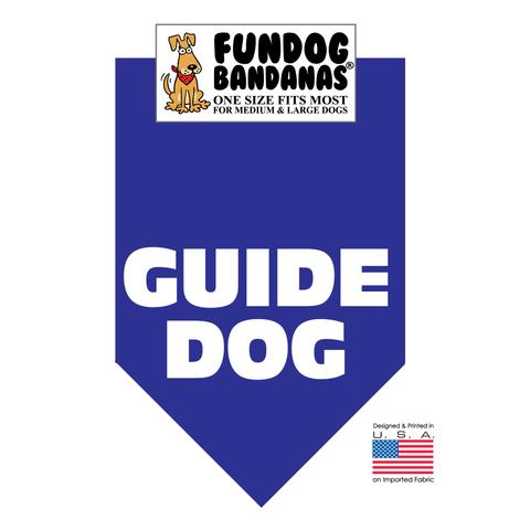 Fun Dog Bandana - Guide Dog - One Size Fits Most for Med to Lg Dogs, royal blue pet scarf
