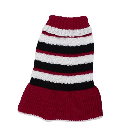 Unique Bargains Winter Red White Black Ribbed Cuff Knitwear Sweater Skirt Dress M for Pet Puppy