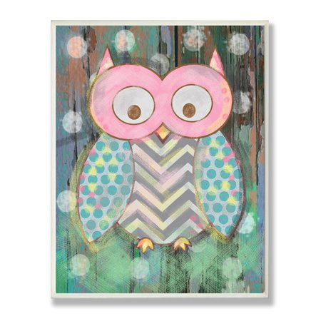 Woodland Owl (The Kids Room by Stupell Distressed Woodland Owl Oversized Wall Plaque Art, 12.5 x 0.5 x 18.5 )