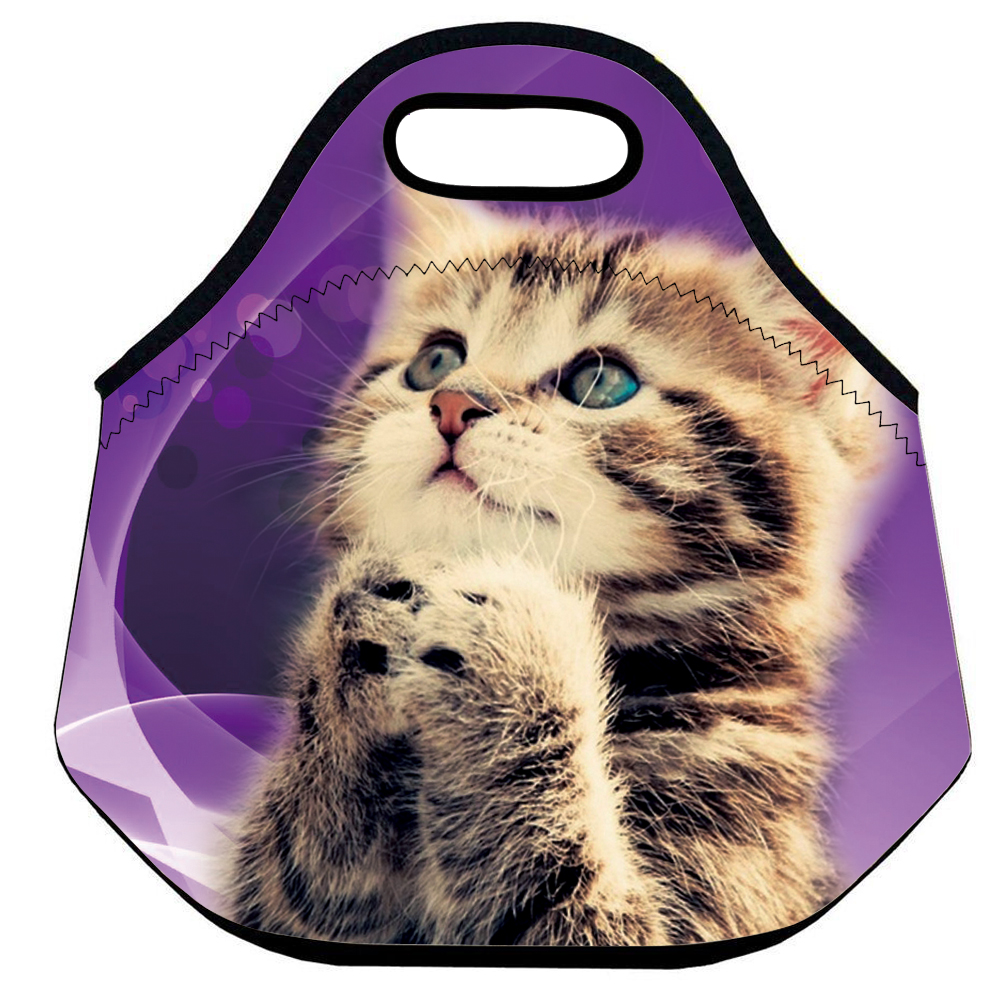 Popeven Cute Cat Girls Insulated Neoprene Lunch Bag Tote Handbag lunchbox Food Container Gourmet Tote Cooler