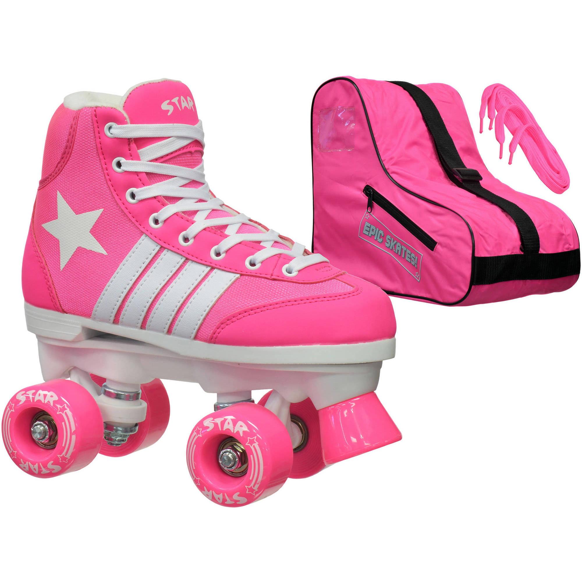Epic Skates Epic Youth Star Carina Pink Quad Roller Skates Package