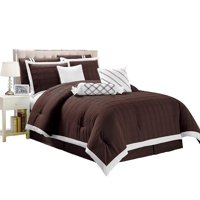 Legacy Decor 9 pc Pleated Microfiber Comforter Set, Chocolate Brown and White Color, California King Size