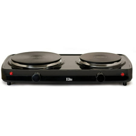 Elite EDB-302BF Cuisine Electric Double Cast Burner Hot Plate Black