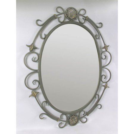 Contemporary Oval Wall Mirror w Gray Finish Swirled Metal Frame