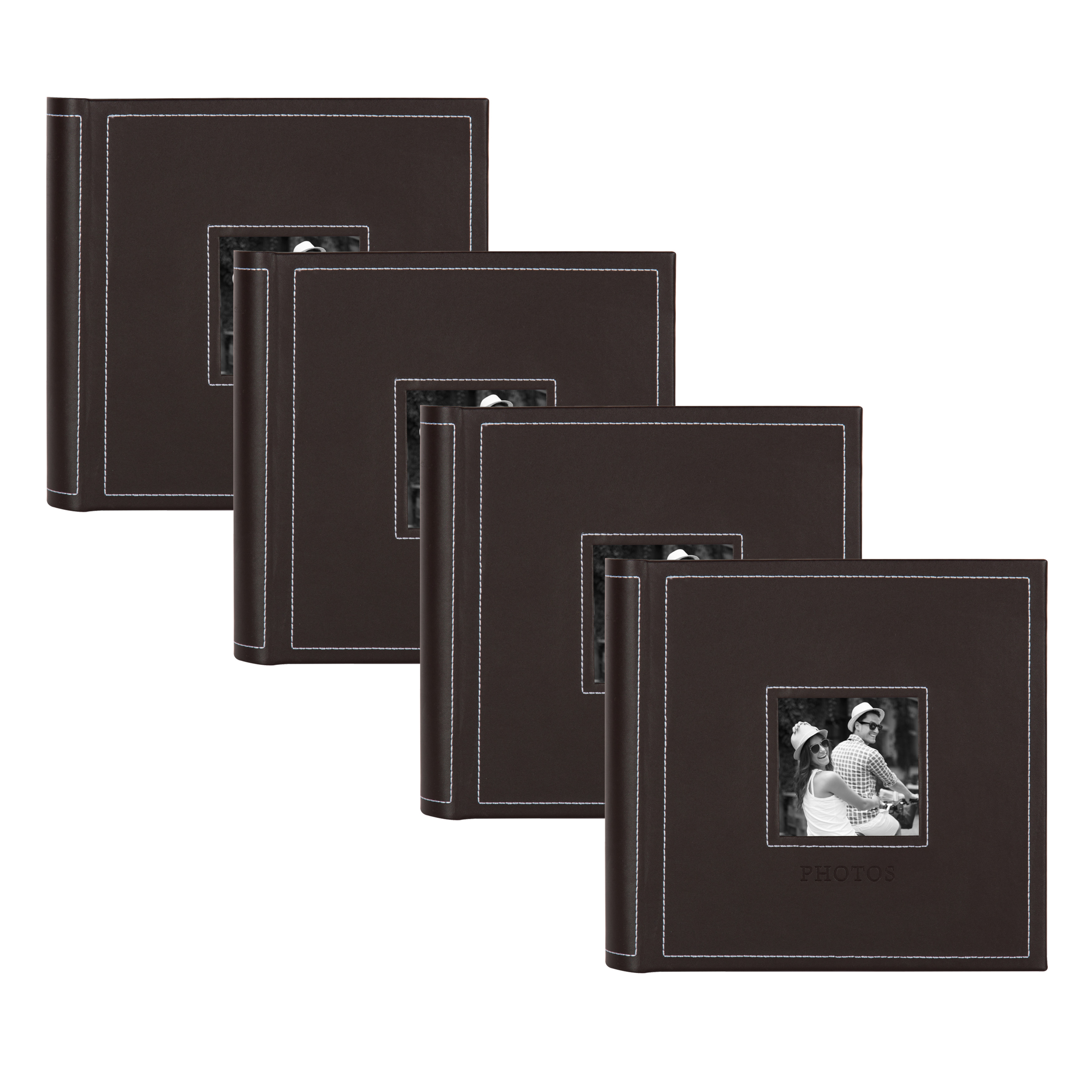 DesignOvation Debossed Faux Leather Square Photo Album - Set of 4