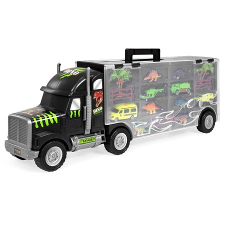 Best Choice Products 22in 16-Piece Kids Giant Transport Semi-Truck Carrier w/ Dinosaur Figures, Helicopter, Jeep, Cars, Fence, Trees, Bushes -