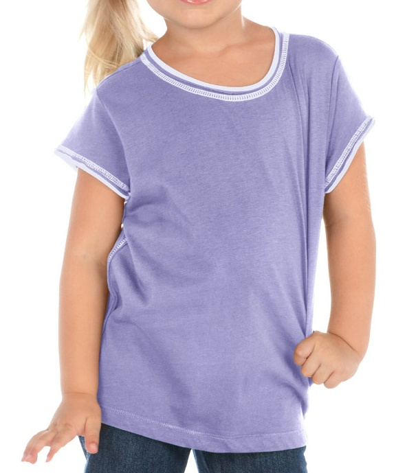 girls 3-6x contrast rolling raw edge s/s, style pjc0365