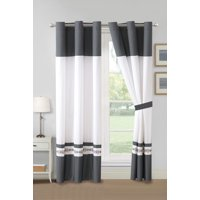 4-Pc York Royal Floral Damask Scroll Embroidery Curtain Set Gray White Drape Grommet Sheer Liner