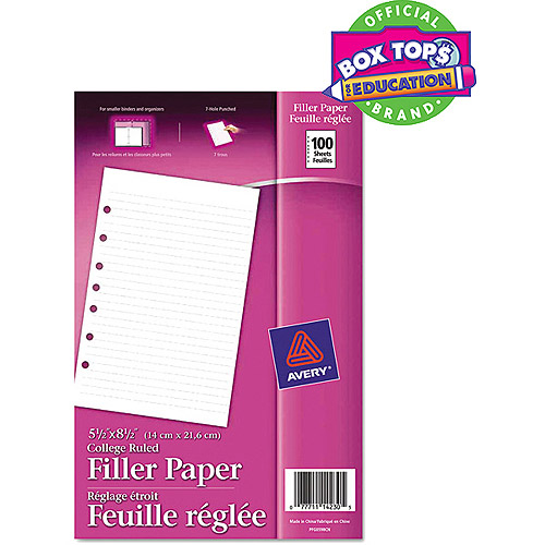 "(2 Pack) Avery(R) Mini 5-1/2"" x 8-1/2"" Binder Filler Paper 14230, 100 Sheets"