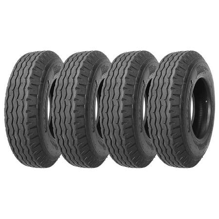 Set of 4 New Heavy Duty Highway Trailer Tires 8-14.5 14PR Load Range G-