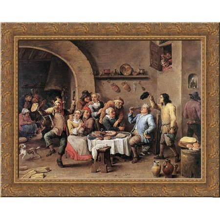 Carnival 'The King Drinks' 24x20 Gold Ornate Wood Framed Canvas Art by David Teniers the Younger](Carnival Drinks)