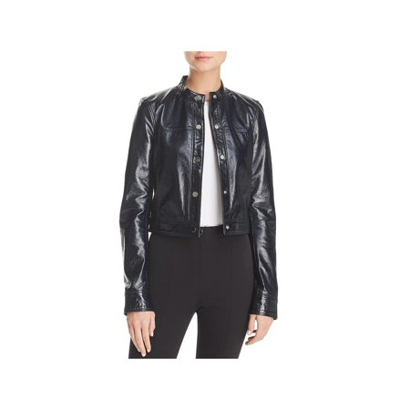 Theory Womens Lamb Leather Spring Bomber Jacket
