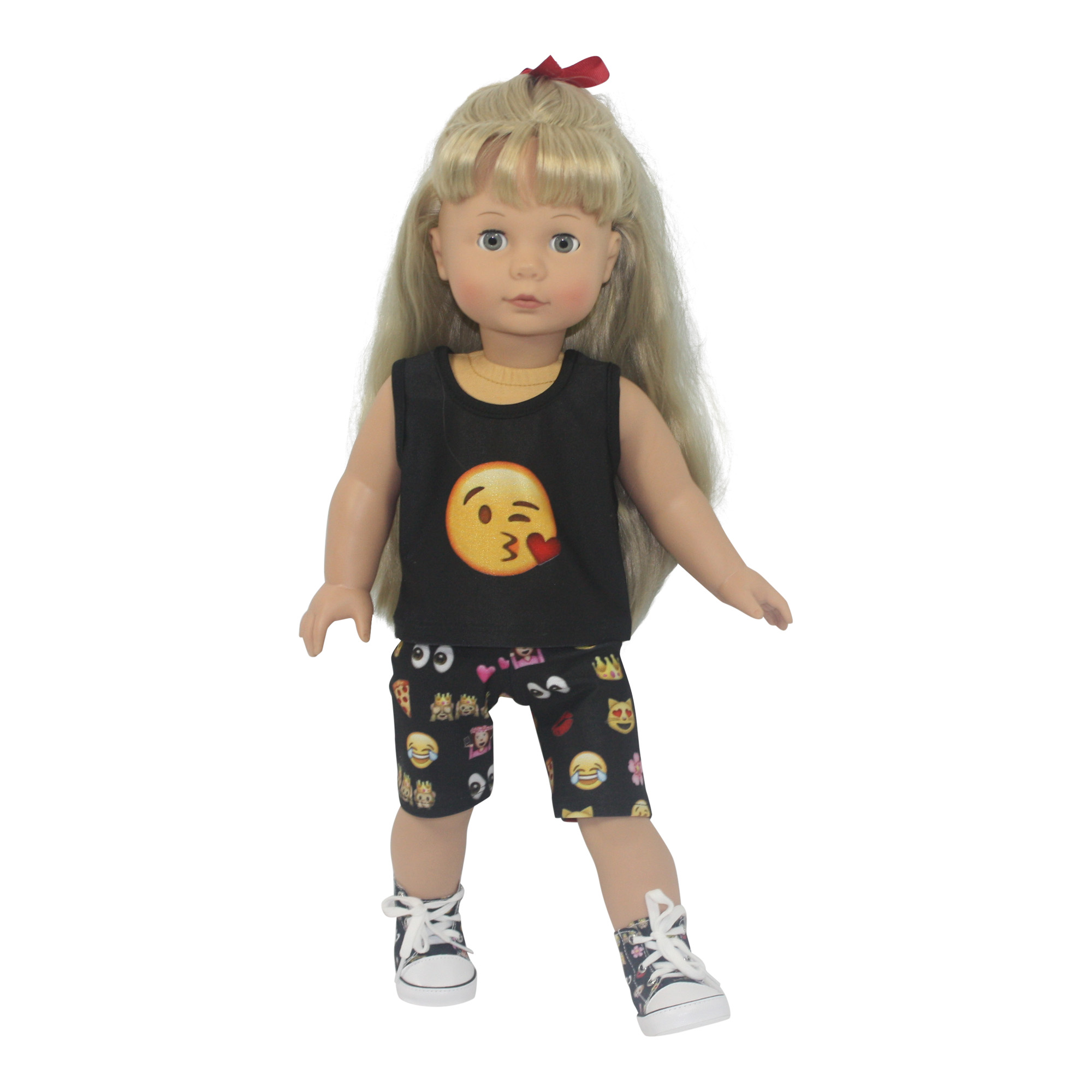 "Ari and Friends Emoji Capri Shorts Set Fits 18"" American Girl Dolls and other 18 inch... by Dream Big Wholesale Doll Clothes"
