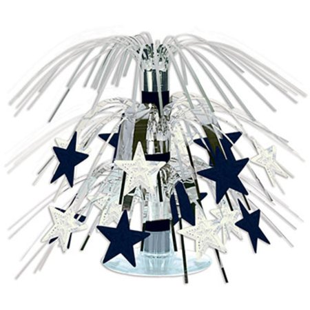 Club Pack of 12 Black and Silver Star Mini Cascading New Year's Centerpiece Decorations 7.5