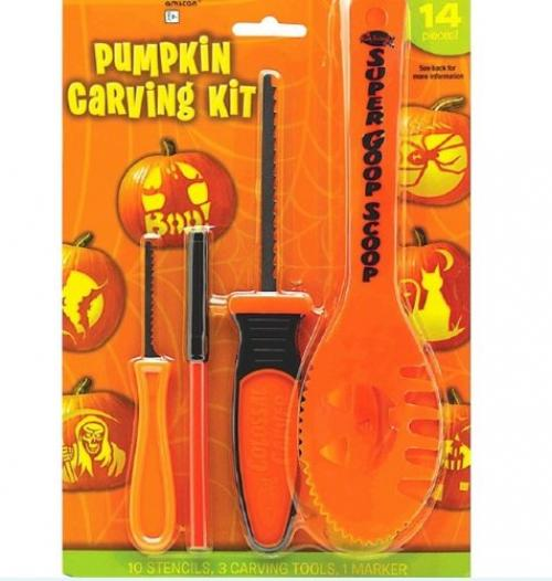 Halloween Decoration Tools ~ 14 Pc Halloween Basic Jack O Lantern Pumpkin Carving Kit with stencils - Spooky Halloween Pumpkin Carving Stencils