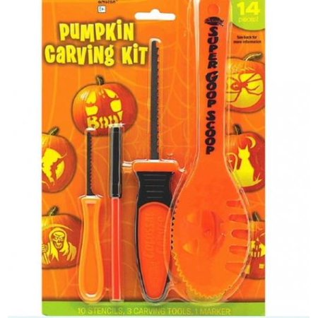 Halloween Decoration Tools ~ 14 Pc Halloween Basic Jack O Lantern Pumpkin Carving Kit with stencils](Halloween Pumpkins Stencils To Carve)