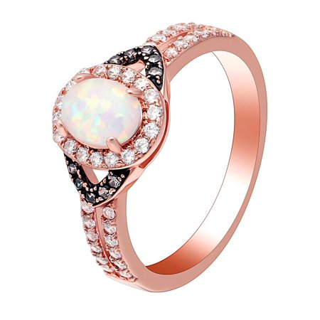 Choco Setting Oval Lab Created White Fire Opal Ring - Ginger Lyne