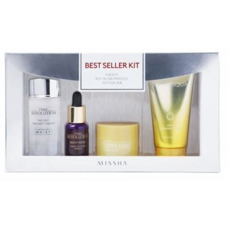 Missha Best Seller Set 4pc- Time Revolution Ampoule, Time Revolution Treatment, Super Aqua Cleansing Foam, Super Aqua