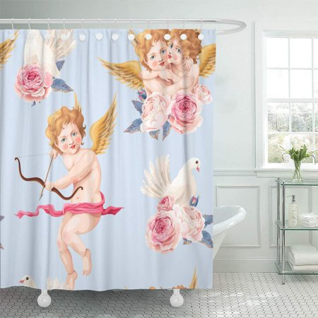 SUTTOM Pink Retro Valentines Day Roses and Cupid Abstract Amor Angel Shower Curtain 60x72 inch - image 1 de 1