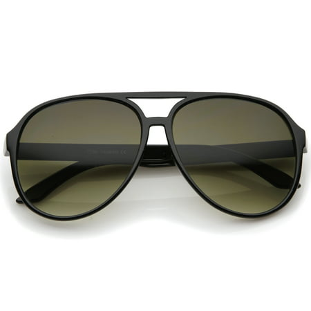 Retro Large Teardrop Shaped Lens Aviator Sunglasses 60mm (Black / Smoke (Teardrop Aviator Sunglasses)