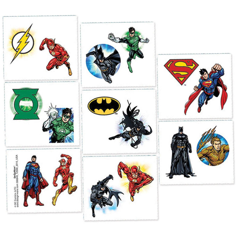 Justice League Tattoos, 16pk