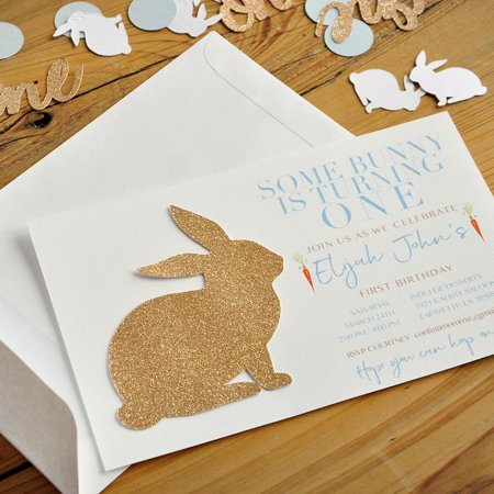 Some Bunny is One Invitations Boy and Envelopes. We Print, Cut, Glue and Ship. Peter Rabbit 1st Birthday - First Birthday Invites