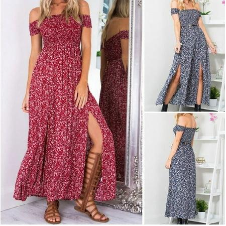 c0219e2ea Emmababy - Sexy Women Floral Summer Boho Long Maxi Evening Party Beach  Dress Off Shoulder Dress - Walmart.com