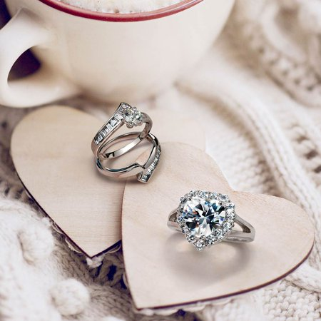 1CT Round Solitaire 6 Prong AAA CZ Wedding Baguette Contoured Band Engagement Ring Set For Women 925 Sterling Silver - image 1 of 5