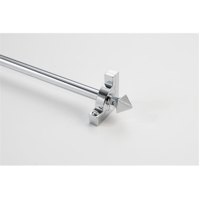 Zoroufy 01364-03323 36 in. Sovereign Tubular Stair Rod Set with Smooth Brackets Pyramid Finials in Chrome by Zoroufy