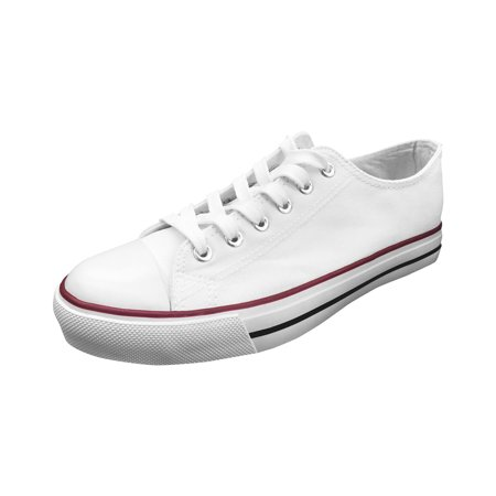 Ish Original Official Women White Blank Low Top Red Black Rubber Sole Casual Canvas Sneaker Shoes Size (Prada Rubber Sole Sneakers)